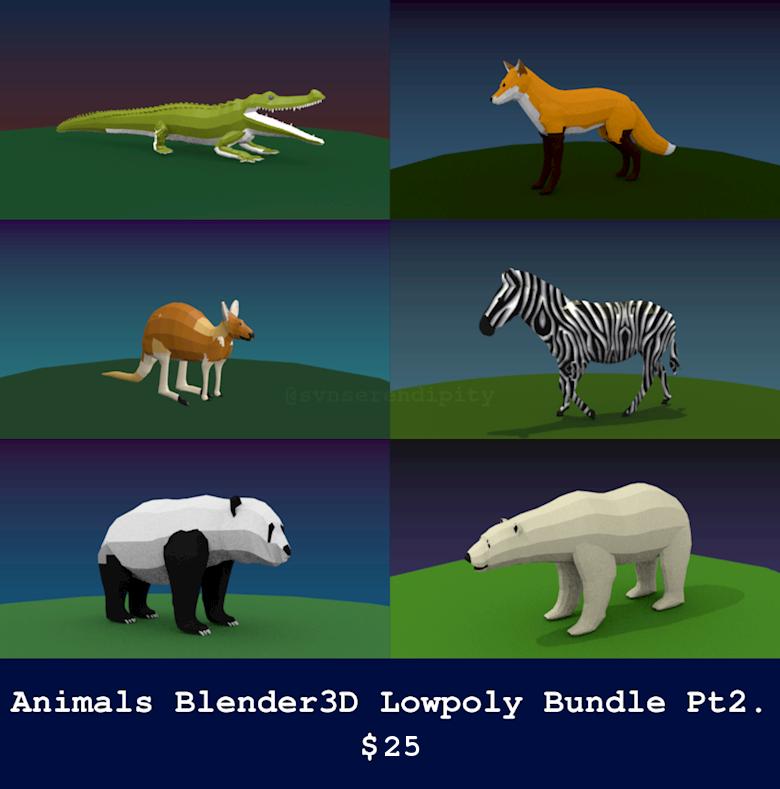 Animals Blender3D Lowpoly Bundle Pt2.