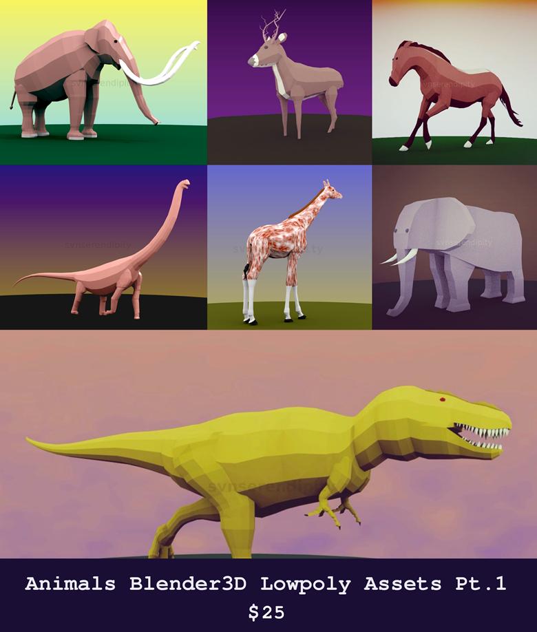 Big Animals Blender3D Lowpoly Bundle Pt1